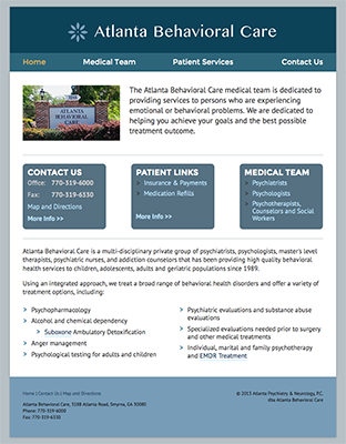 Thumbnail of screenshot for Atlanta Behavioral Care Website