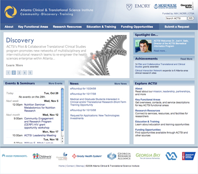 Thumbnail of screenshot for Atlanta Clinical and Translational Science Institute Redesign