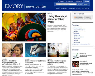 Screenshot from Emory News Center Content Management