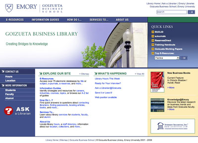 Screenshot from Goizueta Business Library 2006 Redesign