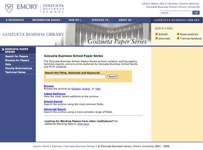 Thumbnail of screenshot for Goizueta Business School Paper Series Website