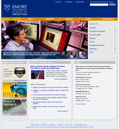 Thumbnail of screenshot for Emory School of Medicine Redesign