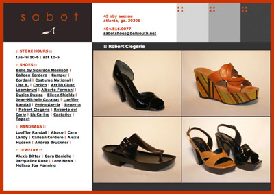 Screenshot from Sabotshoes.com Content Management