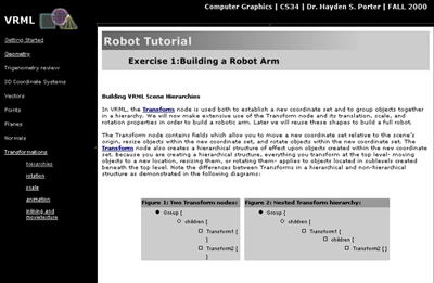 Thumbnail of screenshot for Undergraduate Computer Science VRML Tutorials Website